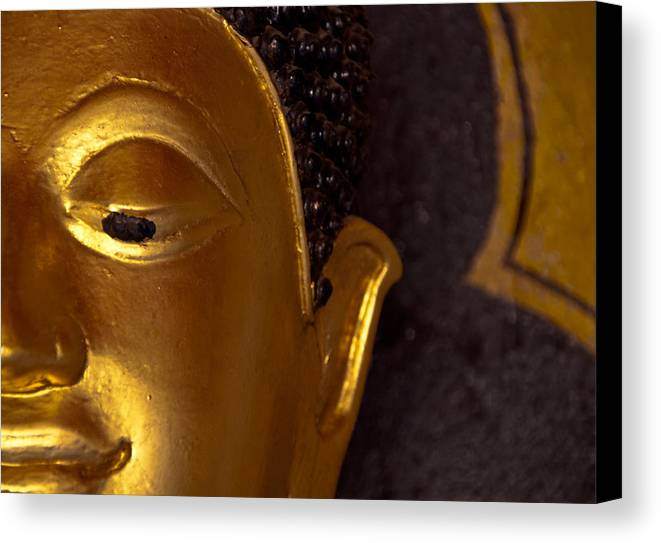 Buddha Canvas Print featuring the photograph Buddha's Face by Preston Coe