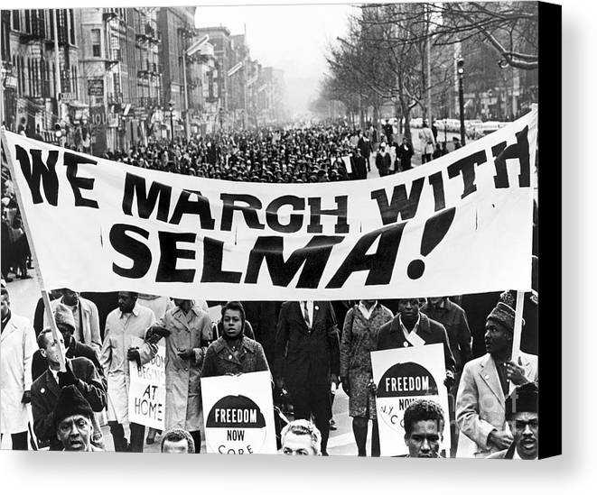 1965 Canvas Print featuring the photograph Civil Rights March, 1965 by Granger