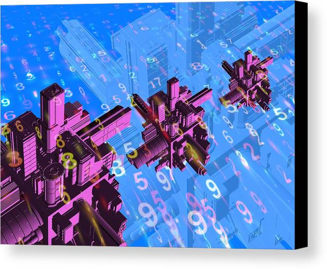 Computer Canvas Print featuring the photograph Digital Communication, Conceptual Image by Victor Habbick Visions