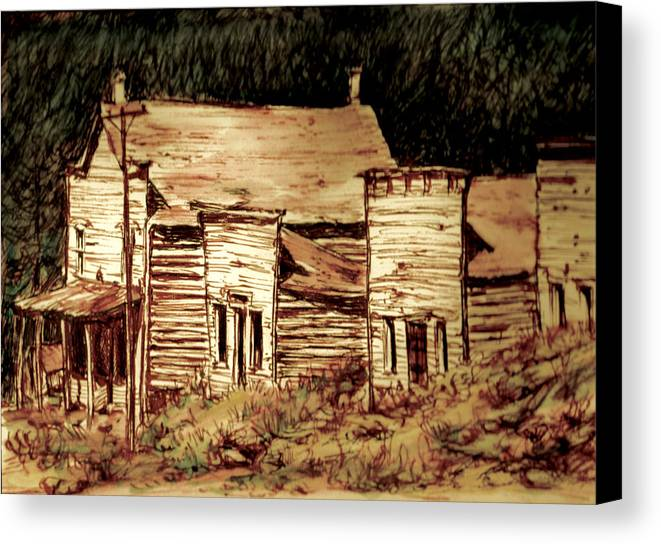 Canvas Print featuring the painting Elkhorn Montana by Kitty Meekins