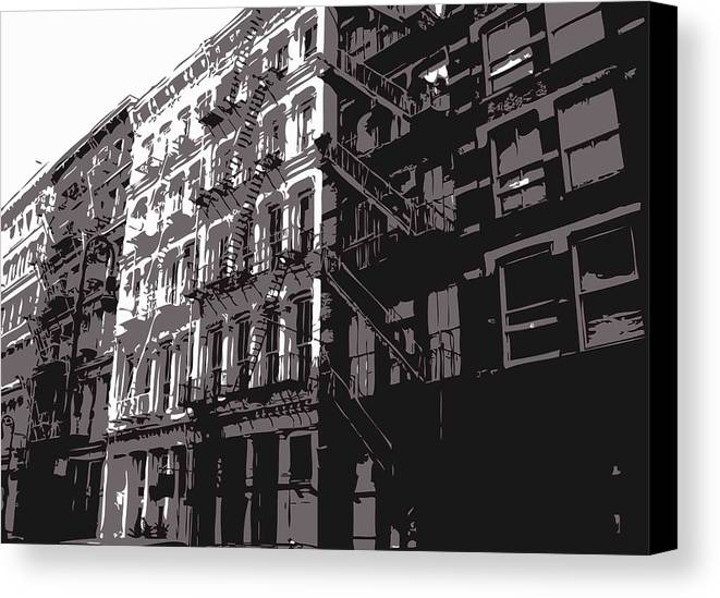 New York City Fire Escapes Canvas Print featuring the photograph Fire Escapes Bw3 by Scott Kelley