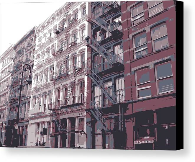 New York City Fire Escapes Canvas Print featuring the photograph Fire Escapes Color 6 by Scott Kelley