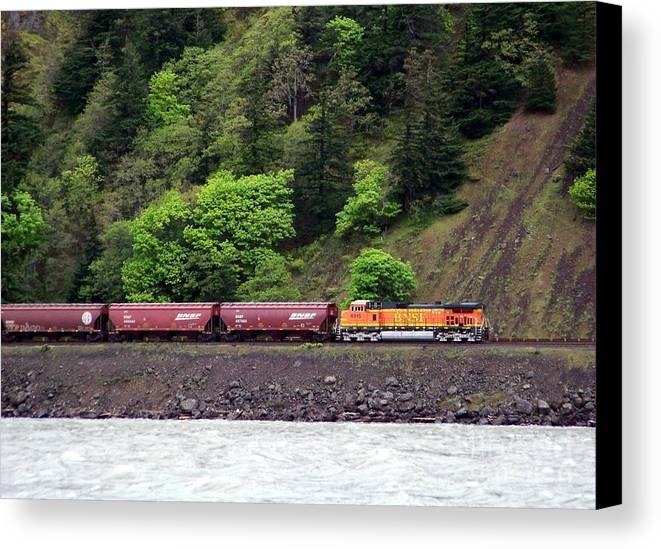 Train Canvas Print featuring the photograph Freight Train Traveling Up The Gorge by Charles Robinson