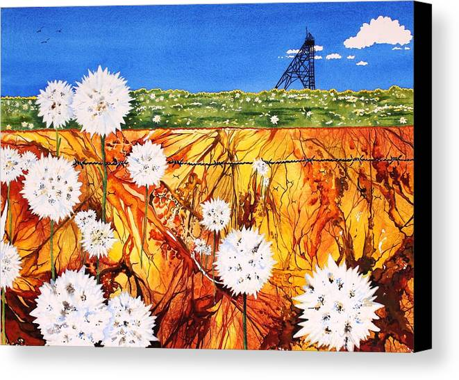 Watercolour Canvas Print featuring the painting Glorious Goldfields by Renata Wright