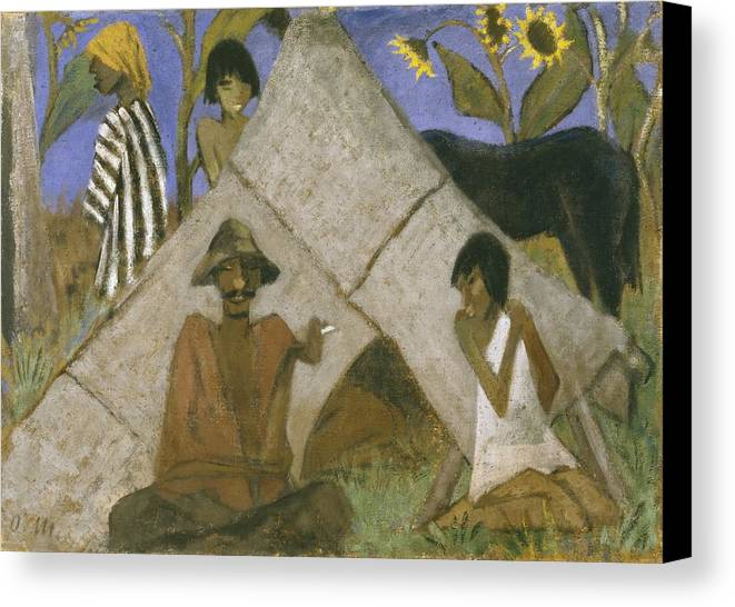 Gypsy Canvas Print featuring the painting Gypsy Encampment by Otto Muller or Mueller