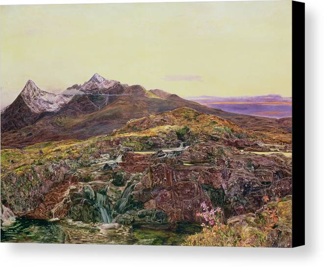 Cuillin Ridge Canvas Print featuring the painting John William Inchbold by Skye from Sligechan