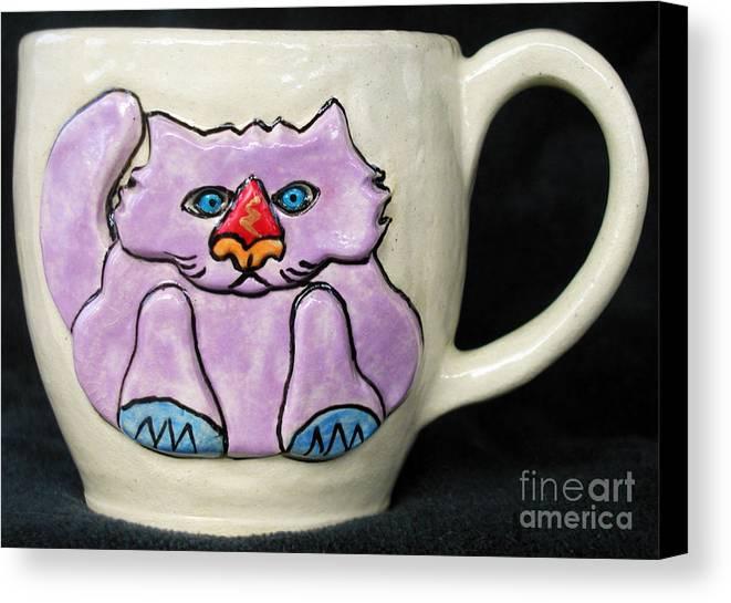 Cat Canvas Print featuring the ceramic art Lightning Nose Kitty Mug by Joyce Jackson