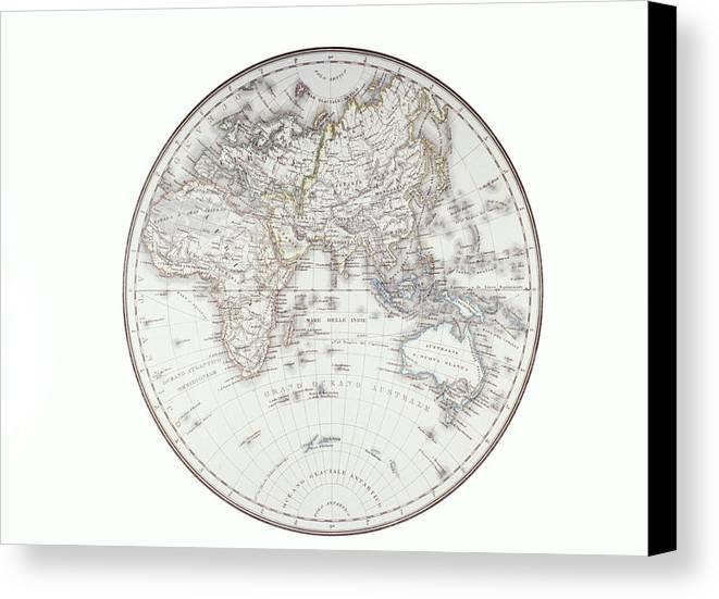 Horizontal Canvas Print featuring the digital art Planispheric Map Of The Eastern Hemisphere by Fototeca Storica Nazionale