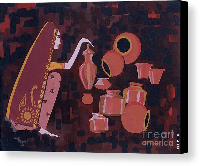 Potter Woman Pots Creations Shapes Brown Earthen Design Forms Canvas Print featuring the painting Potter by Vilas Malankar