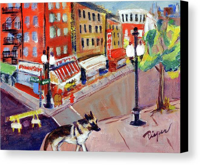 German Shepard Dog In City Canvas Print featuring the painting Queenie On Forsythe Street Manhattan Nyc by Elzbieta Zemaitis
