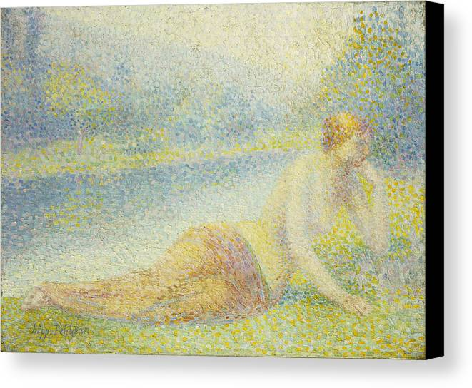 Nude Canvas Print featuring the painting Reclining Nude by Hippolyte Petitjean