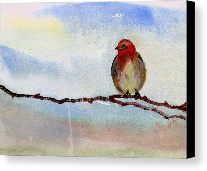Tree Canvas Print featuring the painting Robin 1 by Anil Nene