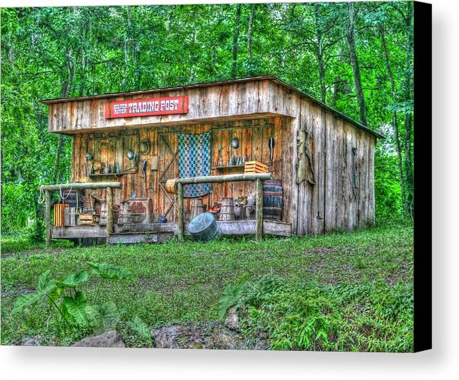 historic Site Canvas Print featuring the photograph Silver River Trading Post by Myrna Bradshaw