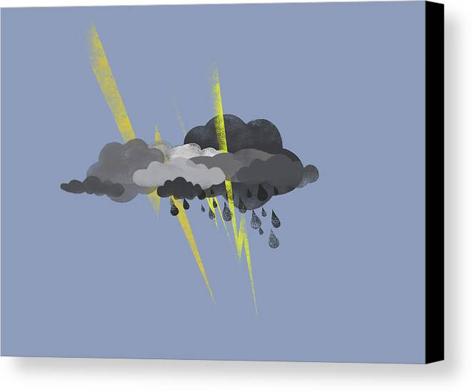 Horizontal Canvas Print featuring the digital art Storm Clouds, Lightning And Rain by Jutta Kuss