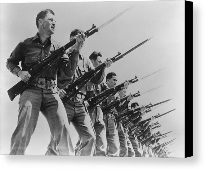 1940s Canvas Print featuring the photograph World War II, Bayonet Practice by Everett