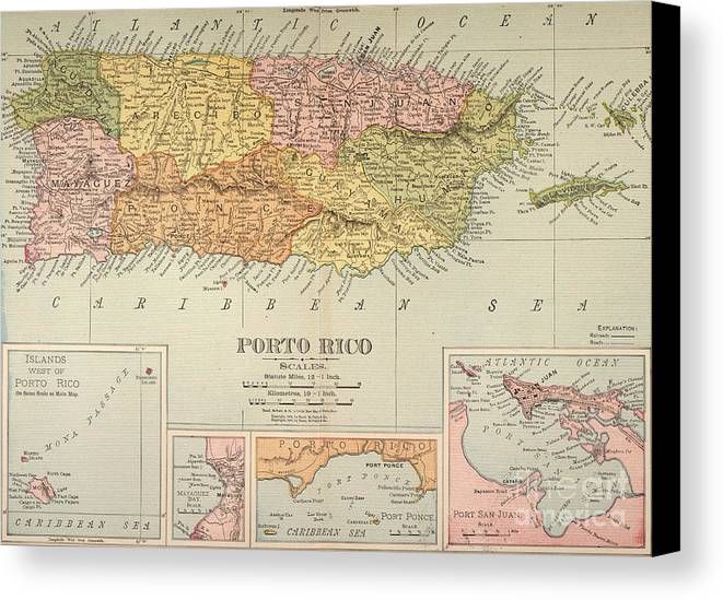 1900 Canvas Print featuring the painting Map: Puerto Rico, 1900 by Granger