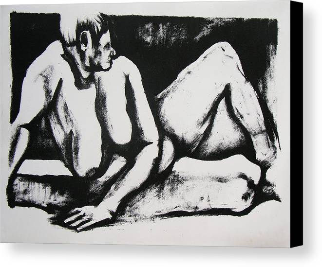 Nude Canvas Print featuring the drawing Air Conditioned Stomach by Brad Wilson