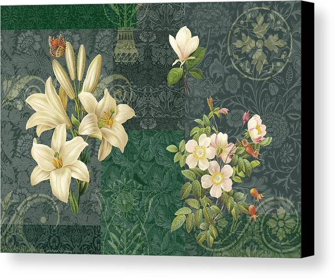 Flowers Canvas Print featuring the painting Flower Patchwork 2 by JQ Licensing