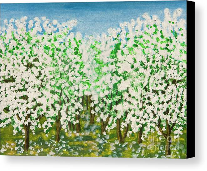 Art Canvas Print featuring the painting Garden In Blossom by Irina Afonskaya