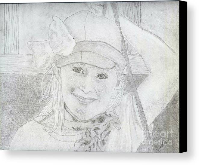 Canvas Print featuring the drawing Little Girl by Sherri Gill