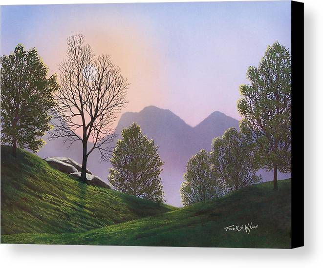 Landscape Canvas Print featuring the painting Misty Spring Meadow by Frank Wilson