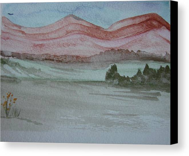 Mountains Canvas Print featuring the painting Pink Mountains by Dottie Briggs