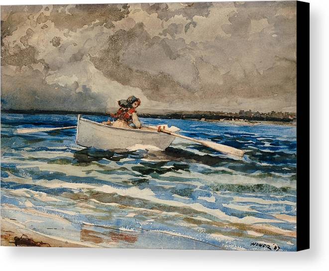 Rowing At Prout's Neck Canvas Print featuring the painting Rowing At Prouts Neck by Winslow Homer