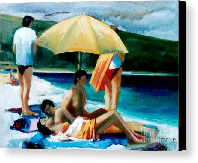 Seas.sumer >summer In Greece.sweemers.beache                                                                                                                                                                                                                                                                        Canvas Print featuring the painting Summer Time by George Siaba