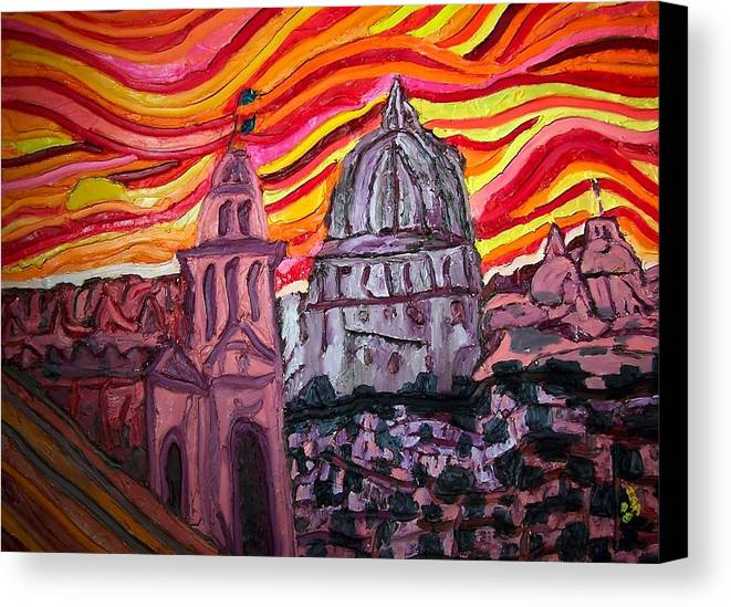 Sienna Italy Canvas Print featuring the painting Sun At Night Siennas Delight by Ira Stark
