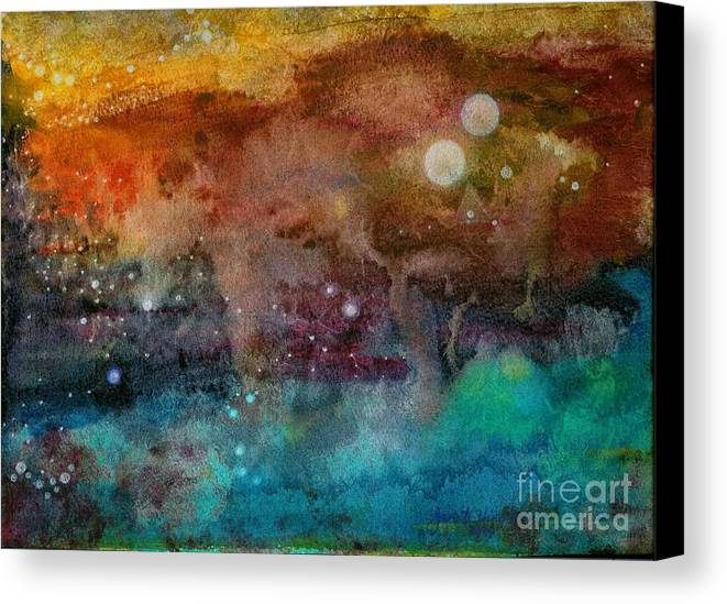 Atmospheric Canvas Print featuring the painting Twilight In The Cosmos by Janet Hinshaw