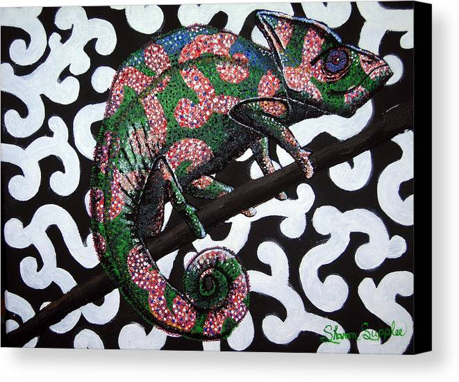 Chameleon Canvas Print featuring the painting You Cant See Me by Sharon Supplee