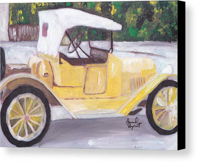 Chevy Canvas Print featuring the painting 1915 Chevy by David Poyant Paintings