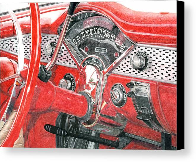Classic Canvas Print featuring the drawing 1955 Chevrolet Bel Air by Rob De Vries