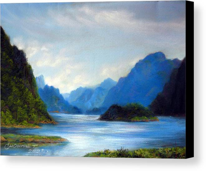 Pastel Canvas Print featuring the painting Thai Landscape by Chonkhet Phanwichien