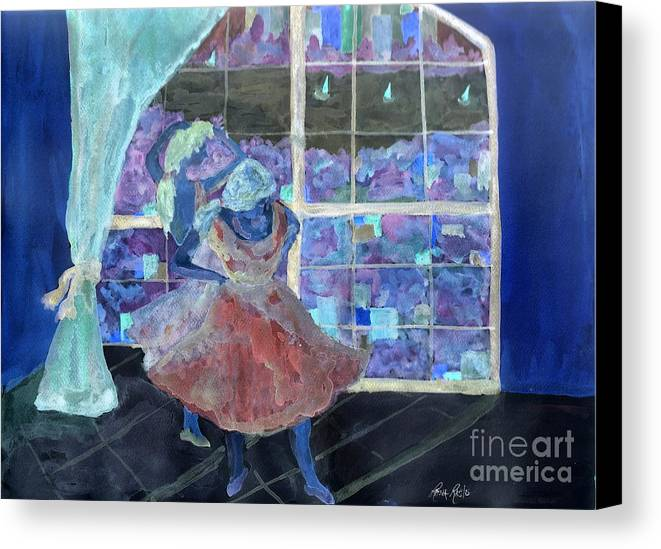 Balet Dancers Canvas Print featuring the painting Dansarinas by Reina Resto
