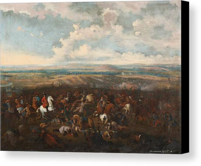 Flemish School Canvas Print featuring the painting The Battle Of Oudenaarde by MotionAge Designs