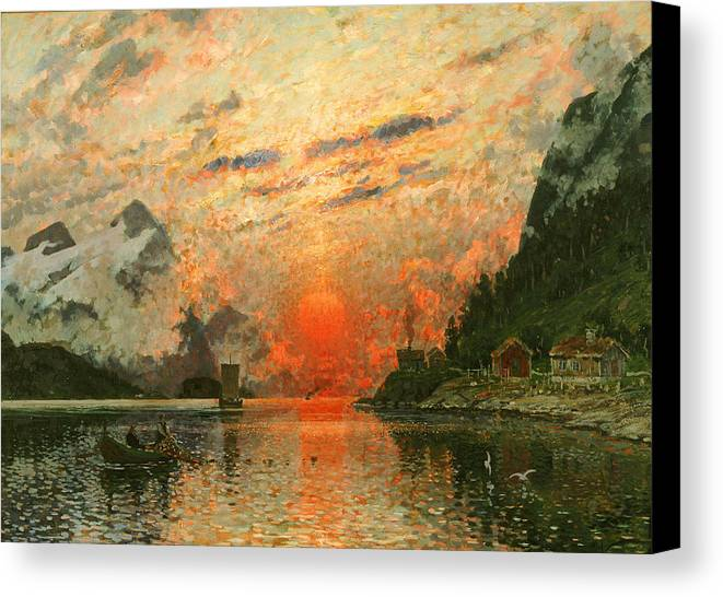 Scandinavia Canvas Print featuring the painting A Fjord by Adelsteen Normann