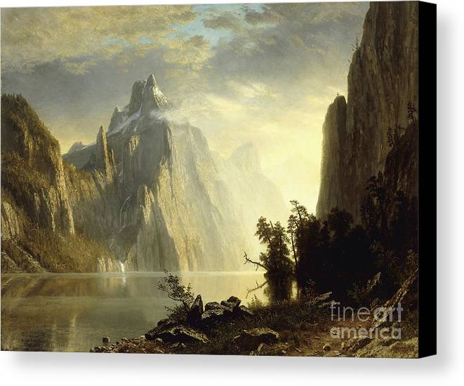 Albert Bierstadt Canvas Print featuring the painting A Lake In The Sierra Nevada by Celestial Images