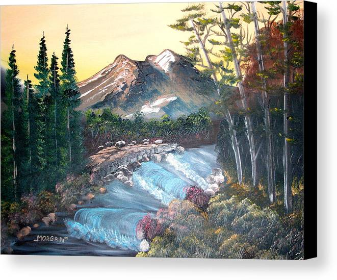 Landscape Canvas Print featuring the painting A River Runs Through It by Sheldon Morgan