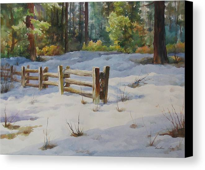 Landscape Canvas Print featuring the painting A Winter Morning by Kelvin Lei