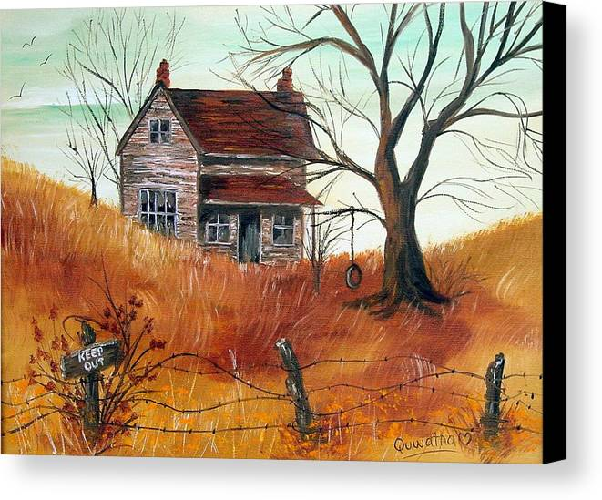 Landscape Canvas Print featuring the painting Abandoned Farmhouse by Quwatha Valentine