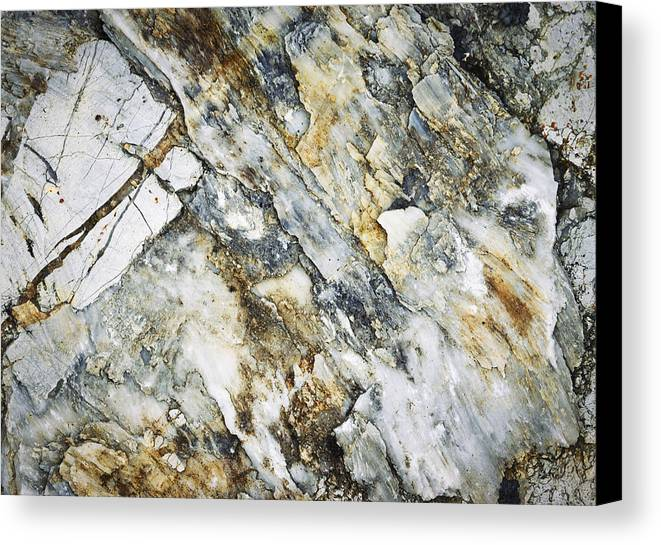 Yellow Canvas Print featuring the photograph Abstract Limestone And Silica Texture by Jozef Jankola