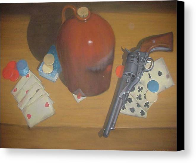 Playing Cards Canvas Print featuring the painting Aces And Eights Or Dead Man's Hand by Diane Caudle
