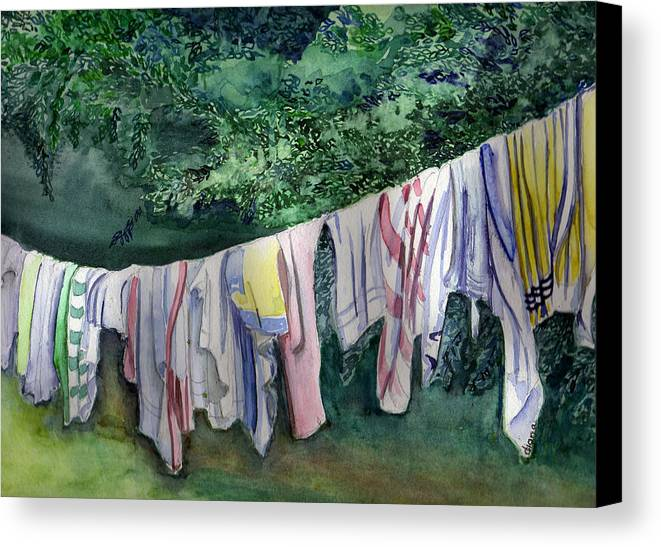 Clothes Canvas Print featuring the painting After A Day At The Beach by Diana Davenport