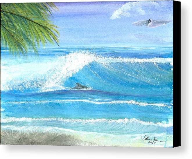 Dolphin Surfing Canvas Print featuring the mixed media After Lunch Session by Laura Johnson