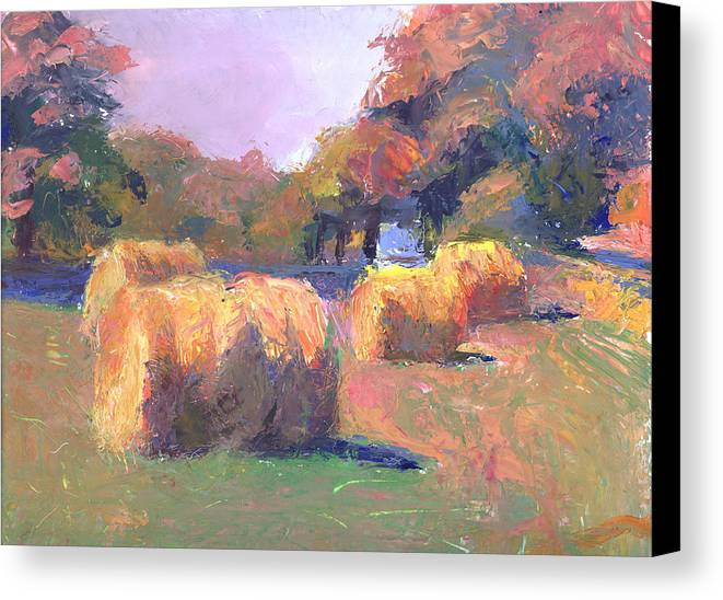 Landscape Canvas Print featuring the painting Airmont Hay Bales Morning by Timothy Chambers