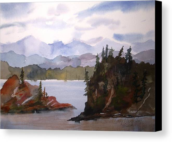 Watercolor Canvas Print featuring the painting Alaska Inside Passage by Larry Hamilton