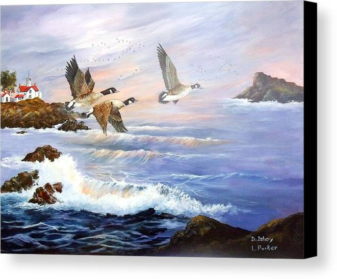 Aleutian Geese /lighthouse Canvas Print featuring the painting Aleutian Geese With Lighthouse by Lynne Parker