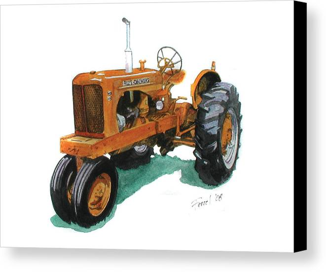 Allis Chalmers Tractor Canvas Print featuring the painting Allis Chalmers Tractor by Ferrel Cordle