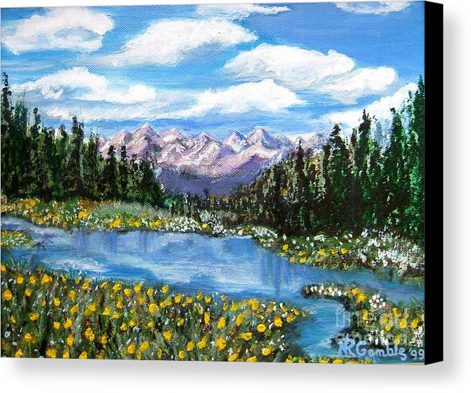 Landscape Canvas Print featuring the painting Alpine Lake Colorado Usa by Nancy Rucker